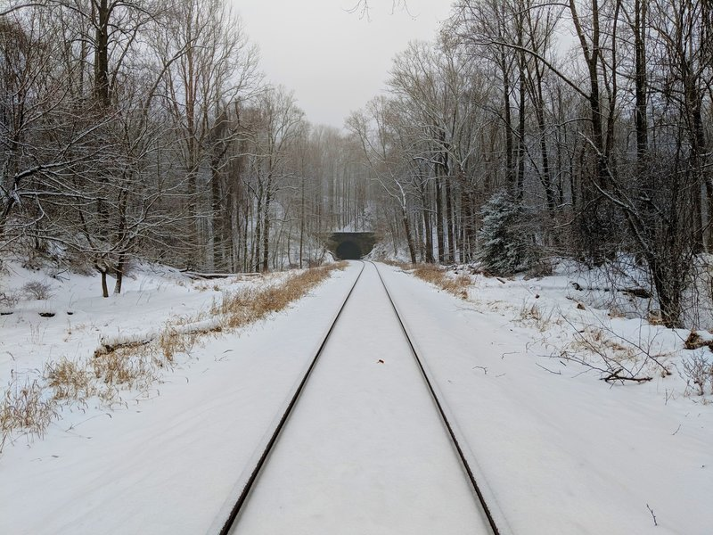 View towards a railroad tunnel near the Old Main Line Trail.