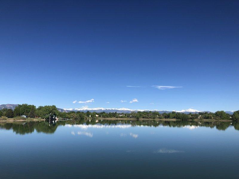 View of the mountains over Waneka Lake