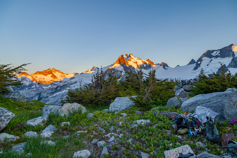 Alpenglow from White Rock Lakes bivy