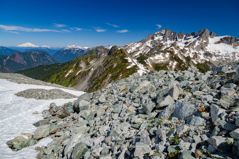 Mt. Formidable, and Mt. Baker in the far distance.
