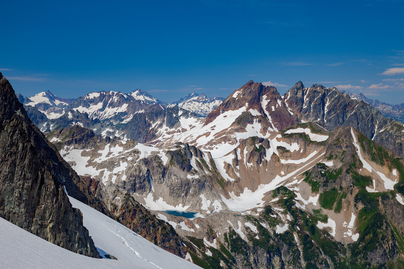 Looking South from Dana Glacier; White Rock Lkes, Sentinel and Old Guard, Le Conte, Spider Mountain and beyond, good viewpoint.