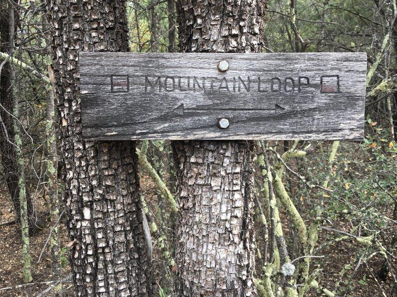 Trail sign on alligator juniper