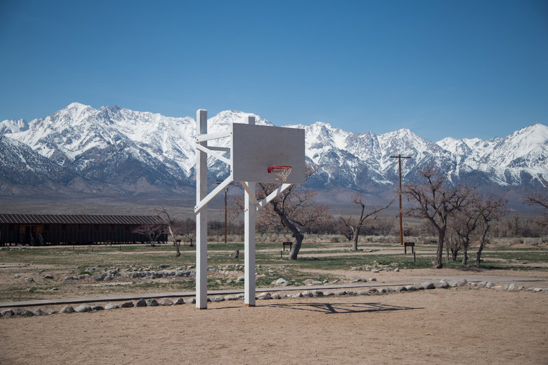 Gravel basketball courts for prisoners at Manzanar.