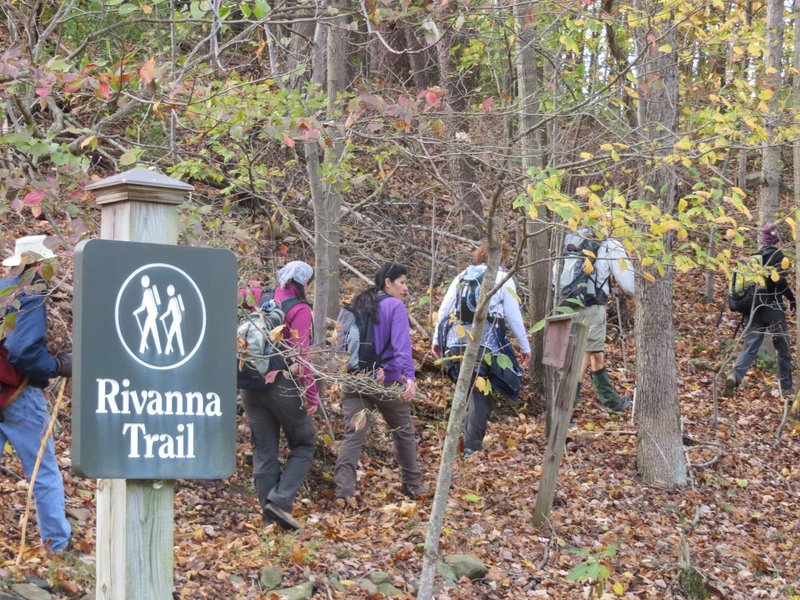 A group hiking the Rivanna Trail.
