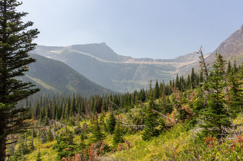 Razoredge Mountain at the beginning of the ascent to Triple Divide Pass.