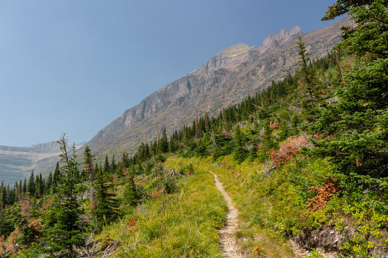 Ascent to Triple Divide Pass along the southern flank of Mount James.