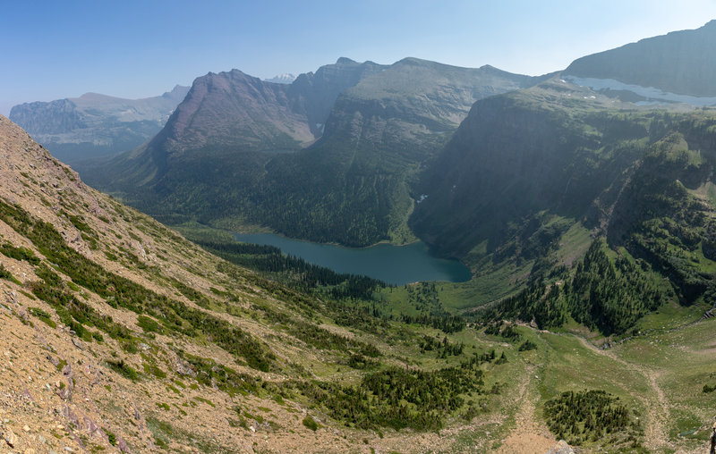Panorama across Medicine Grizzly Lake from just below Triple Divide Pass.