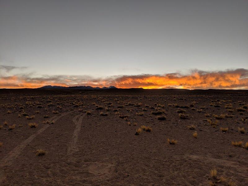 Volcano Galan in La Puna at sunset.