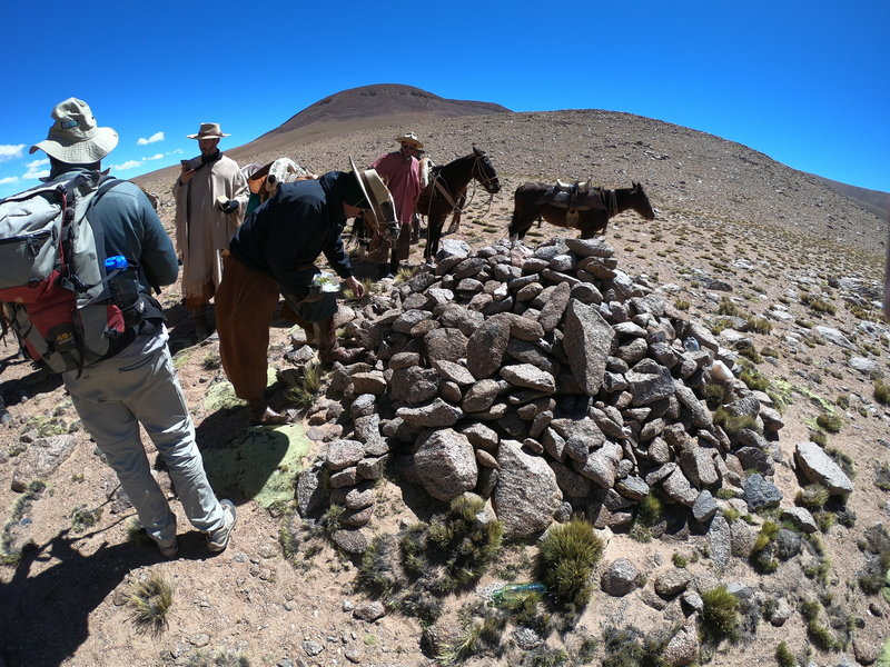 Offerings to Pachamama at the apacheta at Compuel Pass