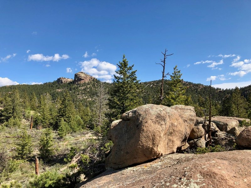 Rocky ledges on the Oh Danny Boy loop with views of the Button Rock.