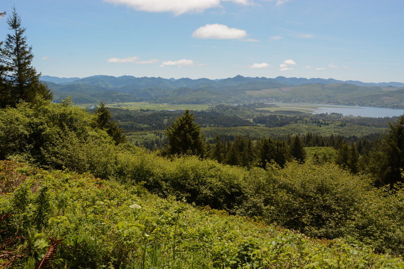 The coastal range over Nehalem Bay from a lower viewpoint