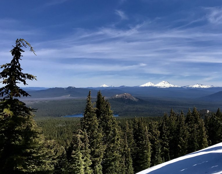 Rewarding view of Mt. Hood, Mt. Jefferson, Mt. Washington, and the Sisters.