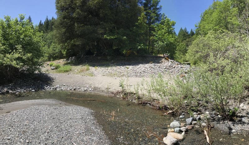 Sandy beach at remains of Virgin Creek Guard Station on New River