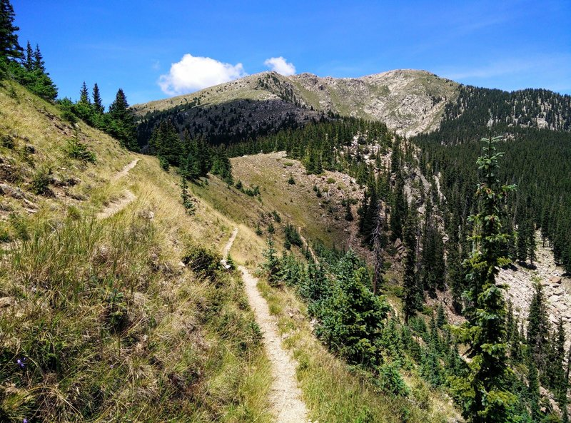 Switchbacks leading down to Lake Katherine; Santa Fe Baldy is ahead