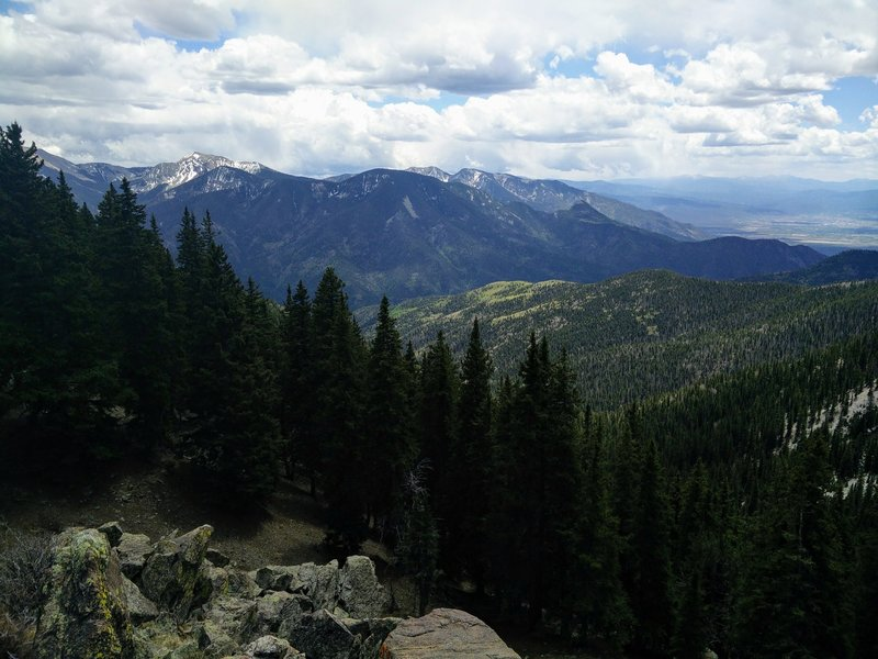 The mountains on the southern side of the ski valley; Taos is on the right edge of the photo.