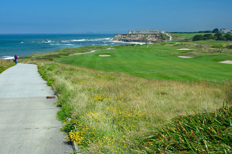 Paved trail runs along the coastal bluffs next to the Ritz Carlton Hotel and golf course.