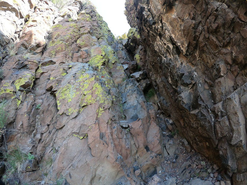 The crux is this Class III gully.