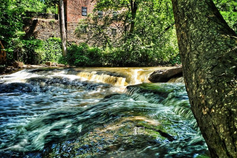 Vickery Creek under the covered footbridge.