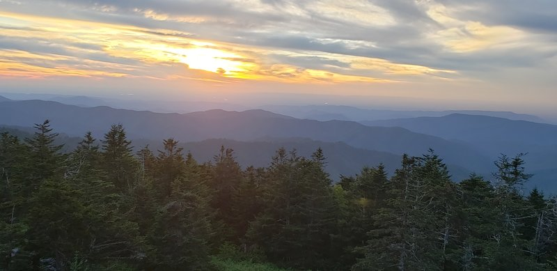 Sunset view from the top of Clingmans Dome.
