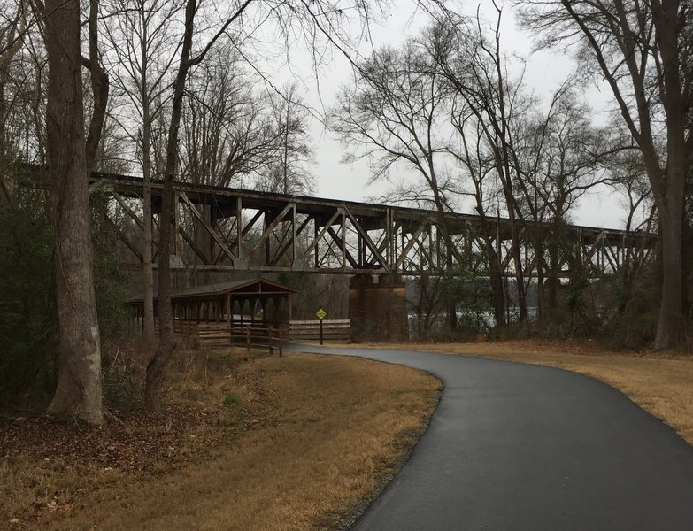 Railroad Trestle at River Trail - River Park, connecting to Piedmont Medical Center Trail.
