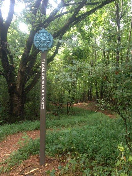 Carolina Thread Trail sign at Riverbend Farm Trail