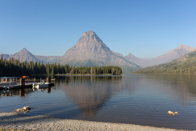 Sinopah Mountain looking over Two Medicine Lake at the south shore trailhead.