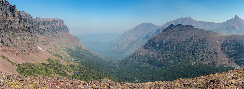 Panorama from the ridge leading to Two Medicine Pass. Sinopah Mountain on the left, Tainted Teepee Peak on the right.