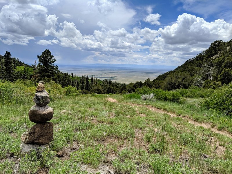 Looking back on the San Luis Valley after entering the meadow.