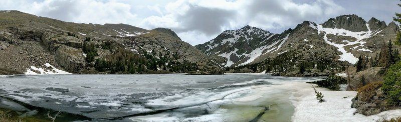 Panorama of South Crestone Lake, still covered in ice. Great view of Mt Adams, Challenger Point, and Kit Carson Peak (from left to right).