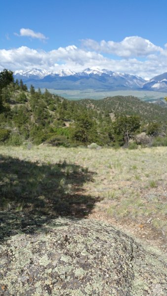View across the Arkansas River Valley to the Collegiate Peaks/Sawatch Range.