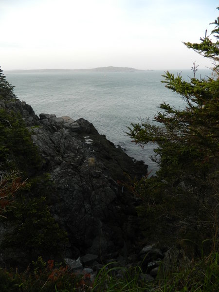 Coast Guard Trail, West Quoddy Head, overlooking Quoddy Narrows with Campobello Island on the horizon.