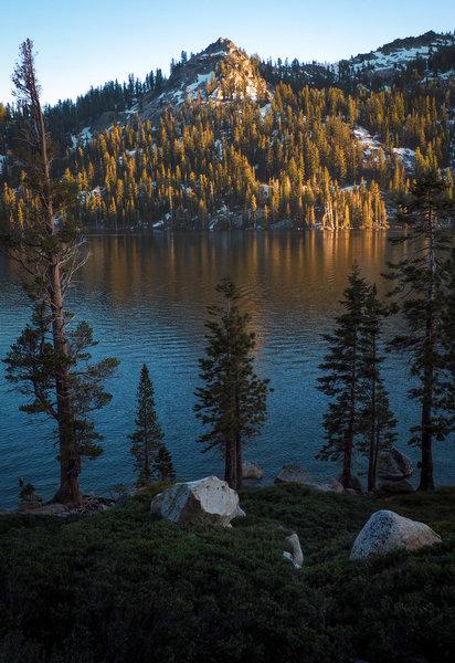Sun setting on Becker Peak over Lower Echo Lake.