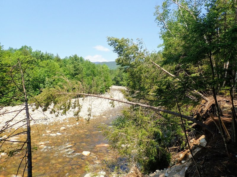 A brief break in the trees offers an overlook of the East Branch Pemigewasset River. Watch for eroding banks.