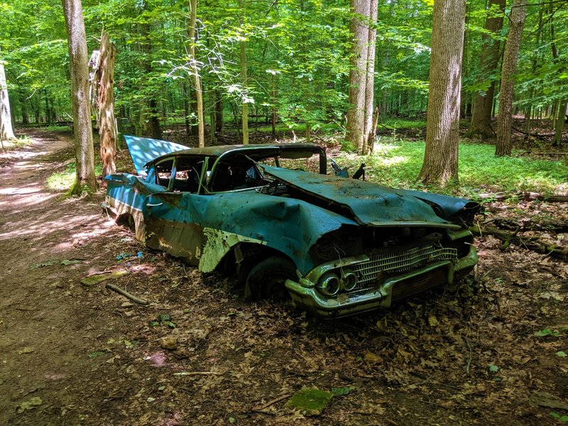 The namesake of the Chevrolet Trail, an old car left in the middle of a forest.