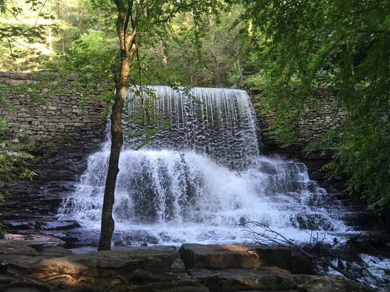 Waterfall over the ruined logging mill