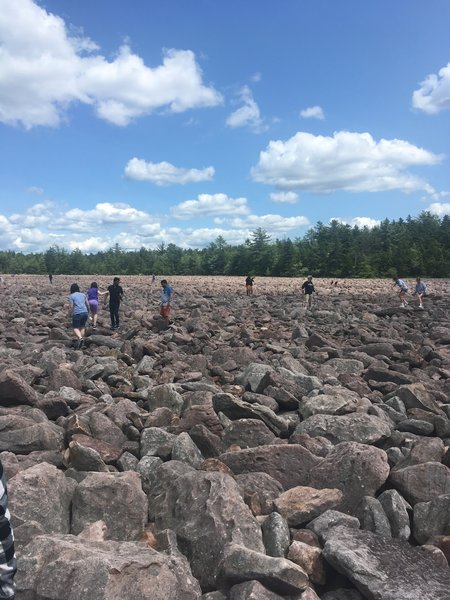 Visitors navigating their way across the boulder field.