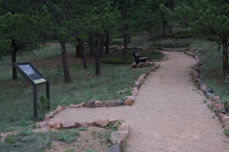 The trail provides opportunities to rest with benches and informational signs providing insight regarding the ecosystem around you.