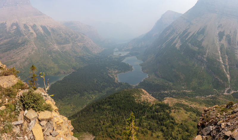 Bullhead Lake from the ascent to Swiftcurrent Pass. Taken during the Howe Ridge Fire 2018.
