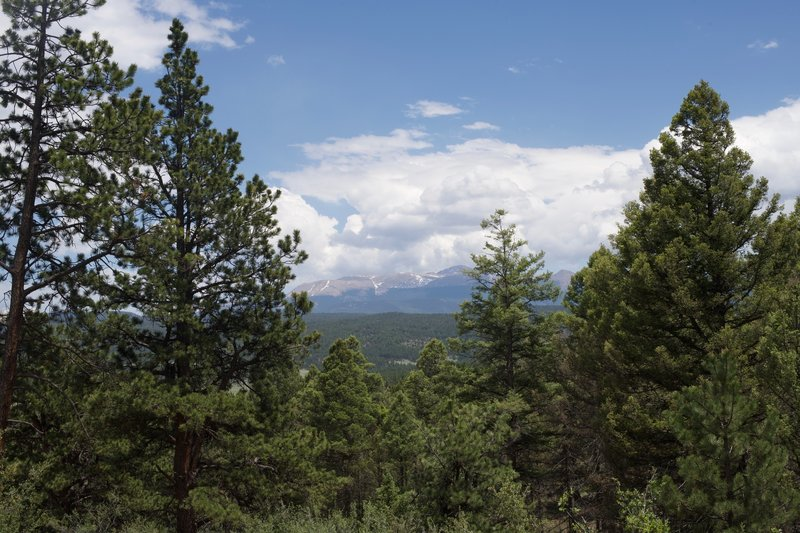 The view of Pikes Peak area from the Sawmill Trail at the junction with the Hans Loop Trail.