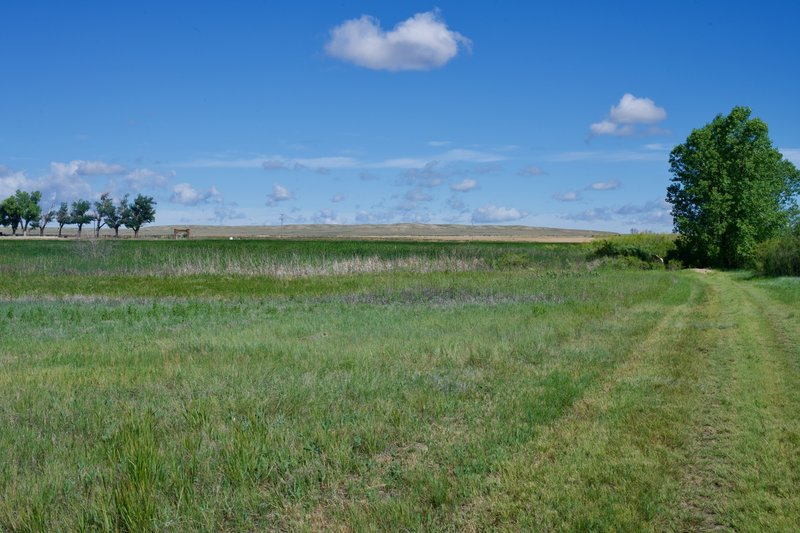 Looking toward the high plains and the entrance to the historic site.