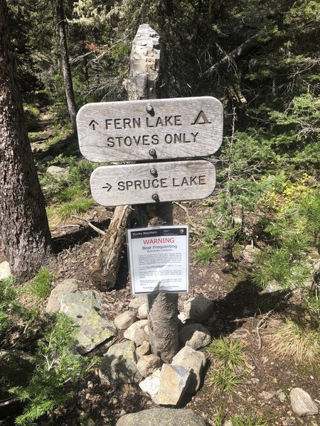 Sign on Fern Lake Trail showing the way to Spruce Lake.