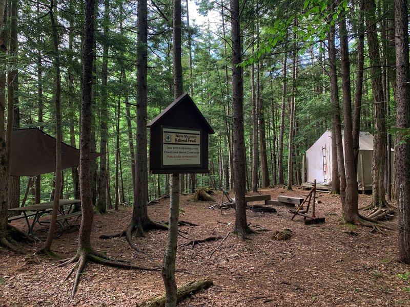 Franconia Brook Tentsite: The USFS Caretaker site.