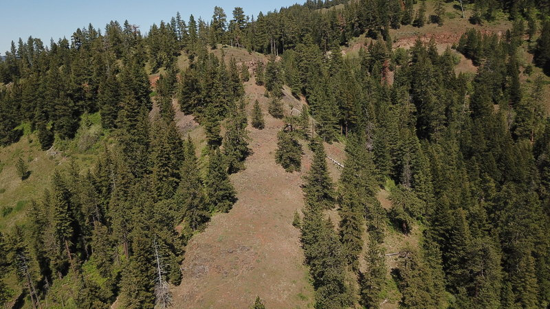View of upper trail section as it approaches Tiger Canyon Road - photo taken by drone.