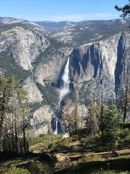 Almost all of Yosemite Falls from the Pohono Trail between Taft Point and Sentinel Dome.