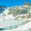 Ashley Lake and Iron Mountain, with permanent snow field on the left.