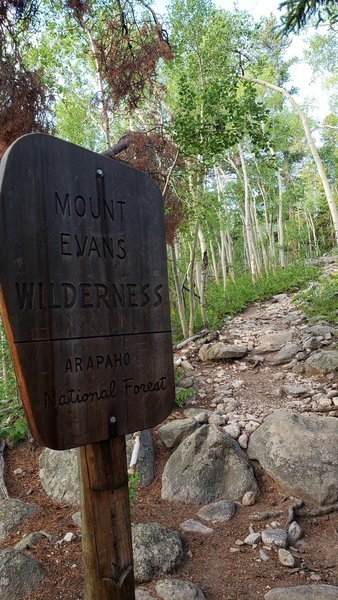Sign for Mount Evans Wilderness