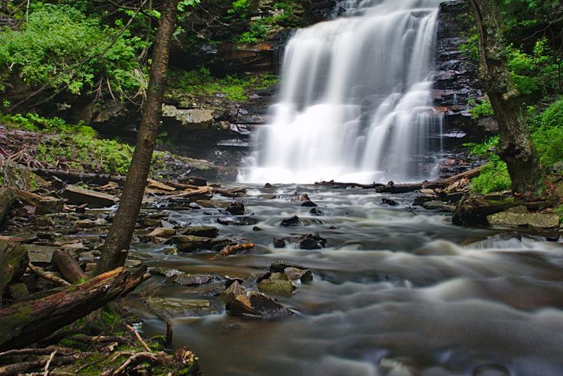 A summer view of Ganoga Falls in Rickets Glenn State Park