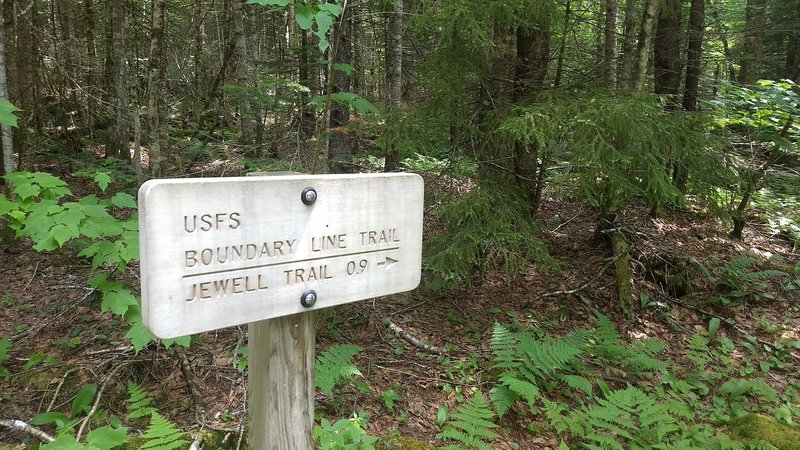 Sign on Jefferson Notch Road indicating trailhead for Boundary Line Trail.