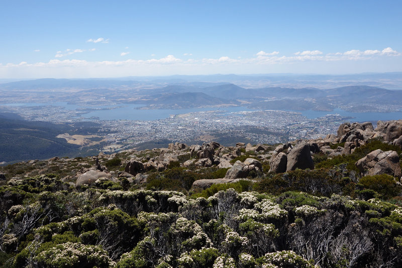 Hobart viewed from the top of Mount Wellington with the Tasman bridge just left of center