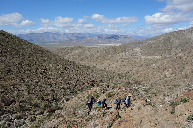 Hikers on the old Indian trial between Palo Verge Canyon and Smoke Tree Canyon